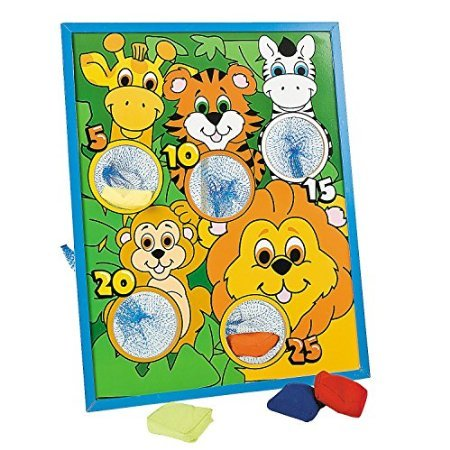 Jungle Animal Kids Beanbag Toss Game-Great For Zoo Themed Parties (Animal Bag Bean Toss)