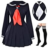 Classic Japanese School Girls Sailor Dress Shirts Uniform Anime Cosplay Costumes with Socks Set(Black)(L = Asia XL)(SSF08BK)