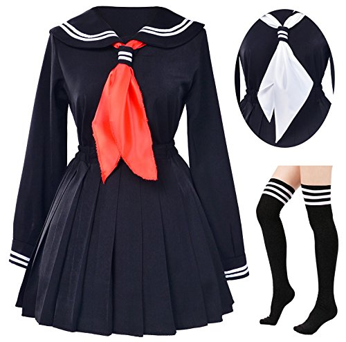 Classic Japanese School Girls Sailor Dress Shirts Uniform Anime Cosplay Costumes with Socks Set(Black)(Plus Size = Asia 5XL)(SSF08BK)