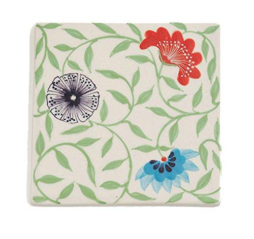 Pretty Painted Ceramic Bat Trang Trivet - Fair Trade