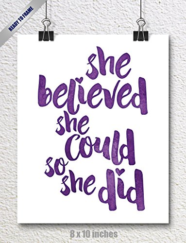 SPUNKYsoul 8 x 10 Inch She Believed She Could So She Did Purple Watercolor Art Print Inspirational Modern Wall Art Poster Decor for Women, Teens and Girls -