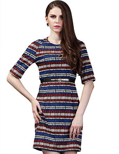 Maxchic Women's Raglan Elbow Sleeve Textured Striped Dress Q12924Y14M,Blue,Medium