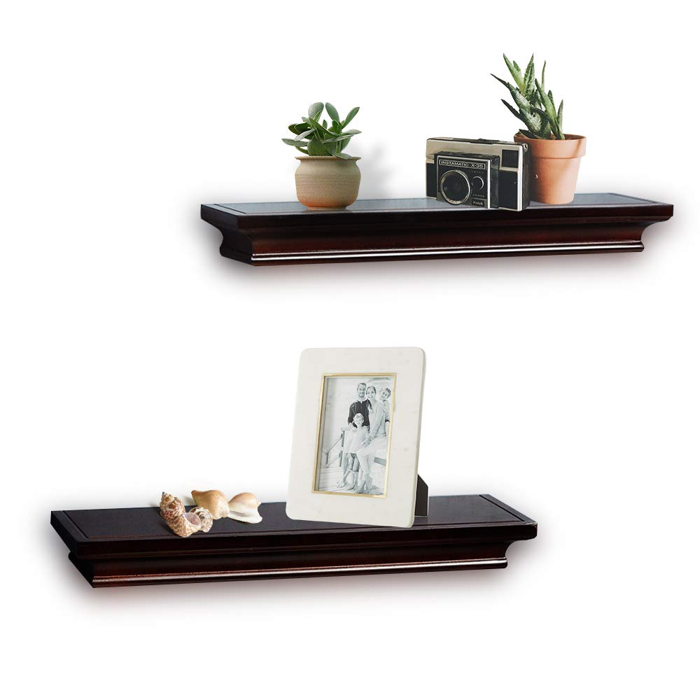AHDECOR Floating Shelves Black Ledge Wall Shelf for Small Display Items with 4 Deep 2-Pack