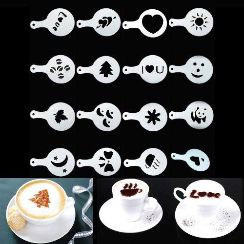 dairyshop 16 piezas máquina de café Barista plantillas, decorar capuchinos, impresión plantilla molde: Amazon.es: Hogar
