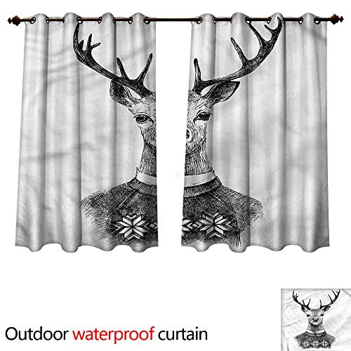 cobeDecor Indie Outdoor Ultraviolet Protective Curtains Deer Nordic Sweater Xmas W72 x L63(183cm x 160cm)