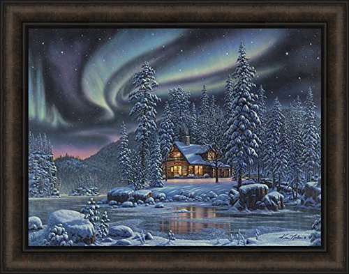 - Aurora Bliss by Kim Norlien 22x28 Northern Lights Winter Log Cabin Night Stars Snow Lake Framed Art Print Picture