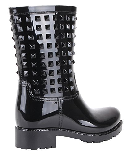 Stud Wellington Calf Boots (Black, US 10),[4056-BLK-8] by KRISP (Image #3)