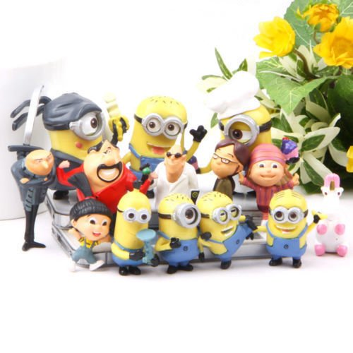 Cute Despicable me 2 minions Movie Character Action Figures Doll Set of 14pcs