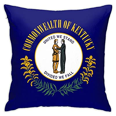 DWei Kentucky Flag Square Throw Pillow Covers Set Cushion Cases Pillowcases for Sofa Bedroom Car 18 X 18 Inch