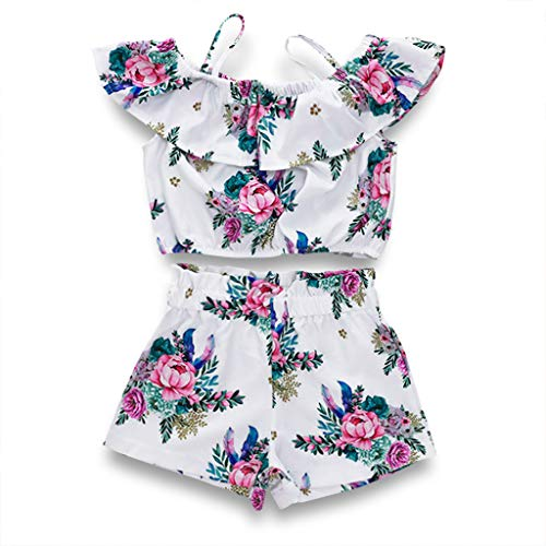 Toddler Baby Girl Floral Halter Ruffled Outfits Set Strap Crop Tops+Short Pants 2 PCS Clothes Set (White, 2-3 Years) ()