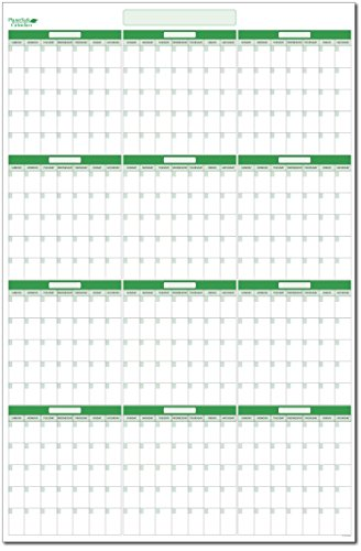 (Earth Green Undated Yearly Vertical 58 in. x 38 in. Dry-erase Calendar. No months listed - start the year when you want. No ghosting or staining. Best in it's Class.(V-NM-NNY))