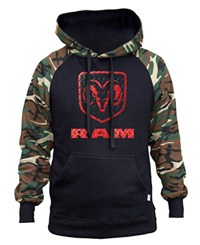 Interstate Apparel Men's Dodge RAM Logo Black/Camo Raglan Baseball Hoodie 2X-Large - Dodge Sweatshirt