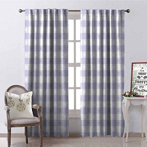 Gloria Johnson Lavender Blackout Curtain Pastel Colored Classic Gingham Check Pattern with Delicate Small Blossoms 2 Panel Sets W52 x L72 Inch Lavander White