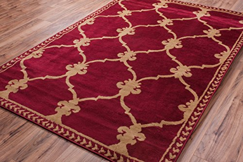 Red Transitional Area Rug - Well Woven Miami Esplanade Fleur De Lis Red Transitional Area Rug 8'2'' X 9'10