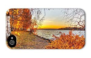Hipster DIY iPhone 4 cover autumn lake sunset PC 3D for Apple iPhone 4/4S