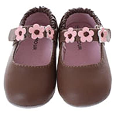 Baby Toddler Girls Brown Soft Sole Daisy Mary Jane Shoes Size 0-5
