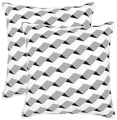 Isabella Beddings 3D Stripes Throw Pillow Case Cover 100% Cotton Throw Pillow Covers Square Eco-Friendly Home Decor for Sofa Couch Bed Grey Black 18x18 inch 45x45 cm Pack of 2