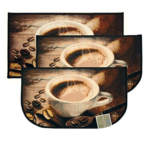 "Kashi Home Coffee Bean 3pc Kitchen Rug Set,  Slice 18""x30"" R"