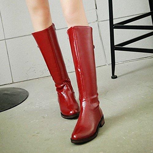 Reißverschluss 25 Einfache Coolcept Rot Stiefel Damen 6ntw4gO
