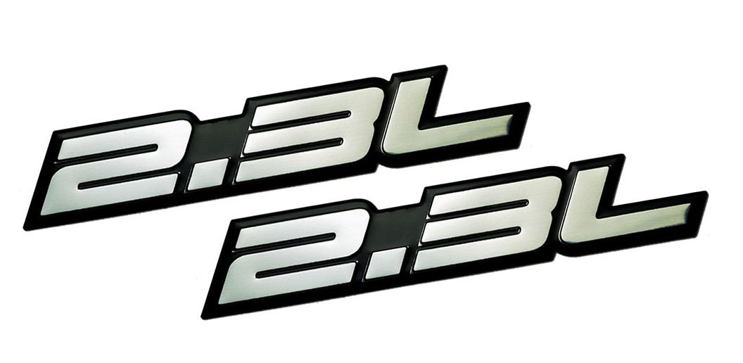 ERPART 2.3L Liter Embossed Silver on Black Highly Polished Silver Real Aluminum Auto Emblem Badge Nameplate (Pack of 2)