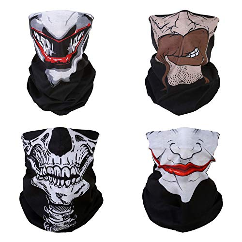 4x Skull Clown Multifunctional Elastic Seamless Headwear Bandana Headband Half Face Mask Scarf Neck UV Sun Protection Windproof Dustproof Motorcycle Bike Airsoft Paintball Hunting Hiking Fishing