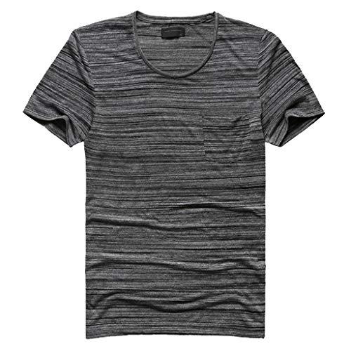 AHAYAKU Fashion Men's Casual Slim Fit Short Sleeve Sports O-Neck Shirt Top Blouse Gray