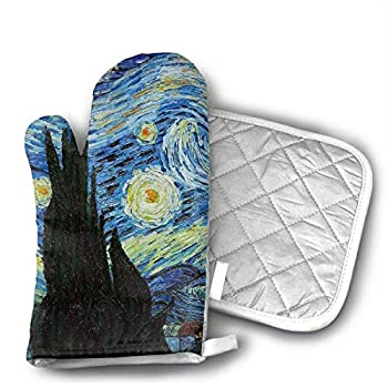 NoveltyGloves Van Goghs Paintings Oven Mitts,Professional Heat Resistant Microwave BBQ Oven Insulation Thickening Cotton Gloves Baking Pot Mitts Soft Inner Lining Kitchen Cooking