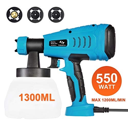 Paint Sprayer, Tilswall 550 Watt HVLP Electric Spray Gun Power Painter with 1300ML Detachable Tank, Adjustable Flow Control, Max 1200ml/min, 3 Spray Patterns, 3 Nozzle Sizes for Fence, Home Painting