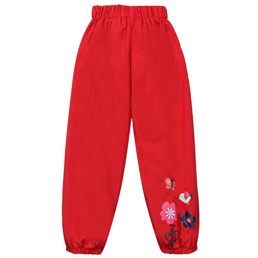 LZH Baby Girls Flower Waterproof Trouser Children's Outwear Rain Pants P001-UK