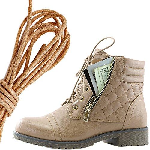 Dailyshoes Donna Militare Allacciatura Fibbia Stivali Da Combattimento Alla Caviglia Alta Tasca Esclusiva Per Carte Di Credito, Marrone Beige Pu
