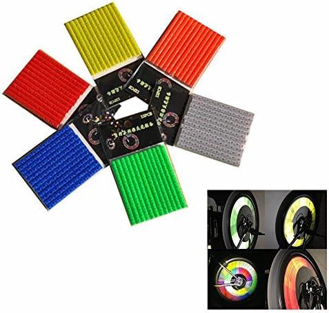 GOOTRADES 6 Sets 72pcs Bicycle Wheel Spoke Reflector Reflective Mount Clip Tube Warning Strip