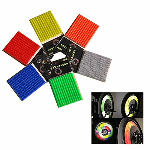 GOOTRADES 6 Sets/72pcs Bicycle Wheel Spoke Reflector Reflective Mount Clip Tube Warning Strip