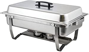 Winco C-4080 - 8 Quart Full-Size Stainless Steel Chafer W/Folding Stand