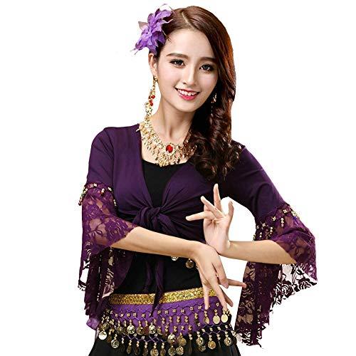 Women's Belly Dance Wrap Tops 3/4 Sleeve Chiffon Tie Tops Gypsy Choli Blouse Purple