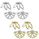 Finrezio 4 Pairs Lotus Flower Bar Stud Earrings for Women Girls Cuff Earrings Ear Jackets Stud Earrings