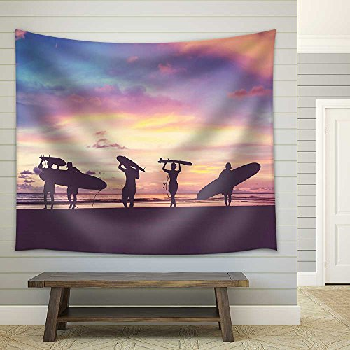 (wall26 - Silhouette of Surfer People Carrying Their Surfboard on Sunset Beach, Vintage Filter Effect with Soft Style - Fabric Wall Tapestry Home Decor - 68x80 inches)