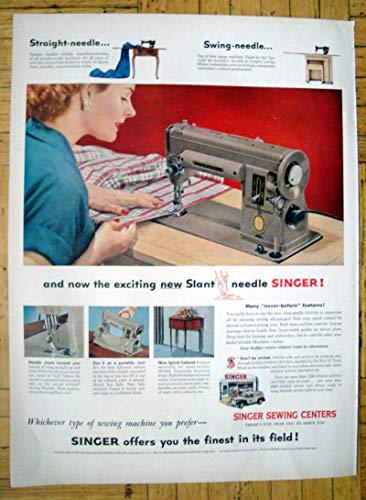 Vintage Ads Appliance (1953 Singer Sewing Centers-Swing Needle-Zigzag-Original 13.5 * 10.5 Magazine Ad)