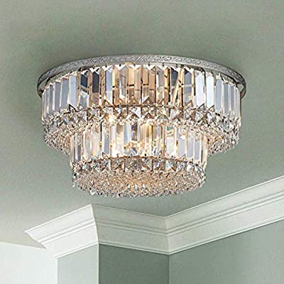 "Saint Mossi Chandelier Modern K9 Crystal Raindrop Chandelier Lighting Flush Mount LED Ceiling Light Fixture Pendant Lamp for Dining Room Bathroom Bedroom Livingroom 5 G9 Bulbs Required H9"" X D16"""