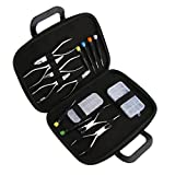 Dovewill 15pcs Professional Metal Plastic Eyeglass Repair Kit - 1 Box Screw Nut + 1 Box Nose Pads + 6pcs Screwdrivers + 7pcs Pliers + 1pcs Storage Holder Bag