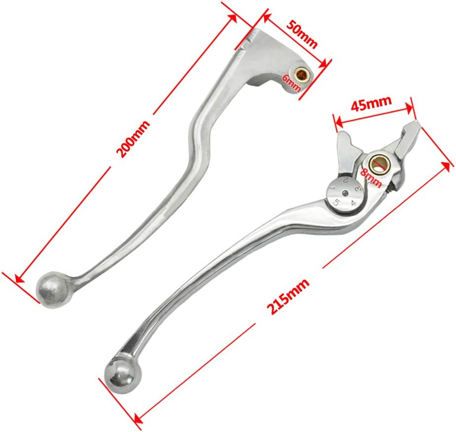 Lefossi Motorcycle Replacement Brake Clutch Hand Lever Sets Pairs For Yamaha YZFR1 YZFR1000 YZF-R6 YZFR600 1999 2000 2001 2002 2003 2004 FZ6 2004 2005 Polished Silver