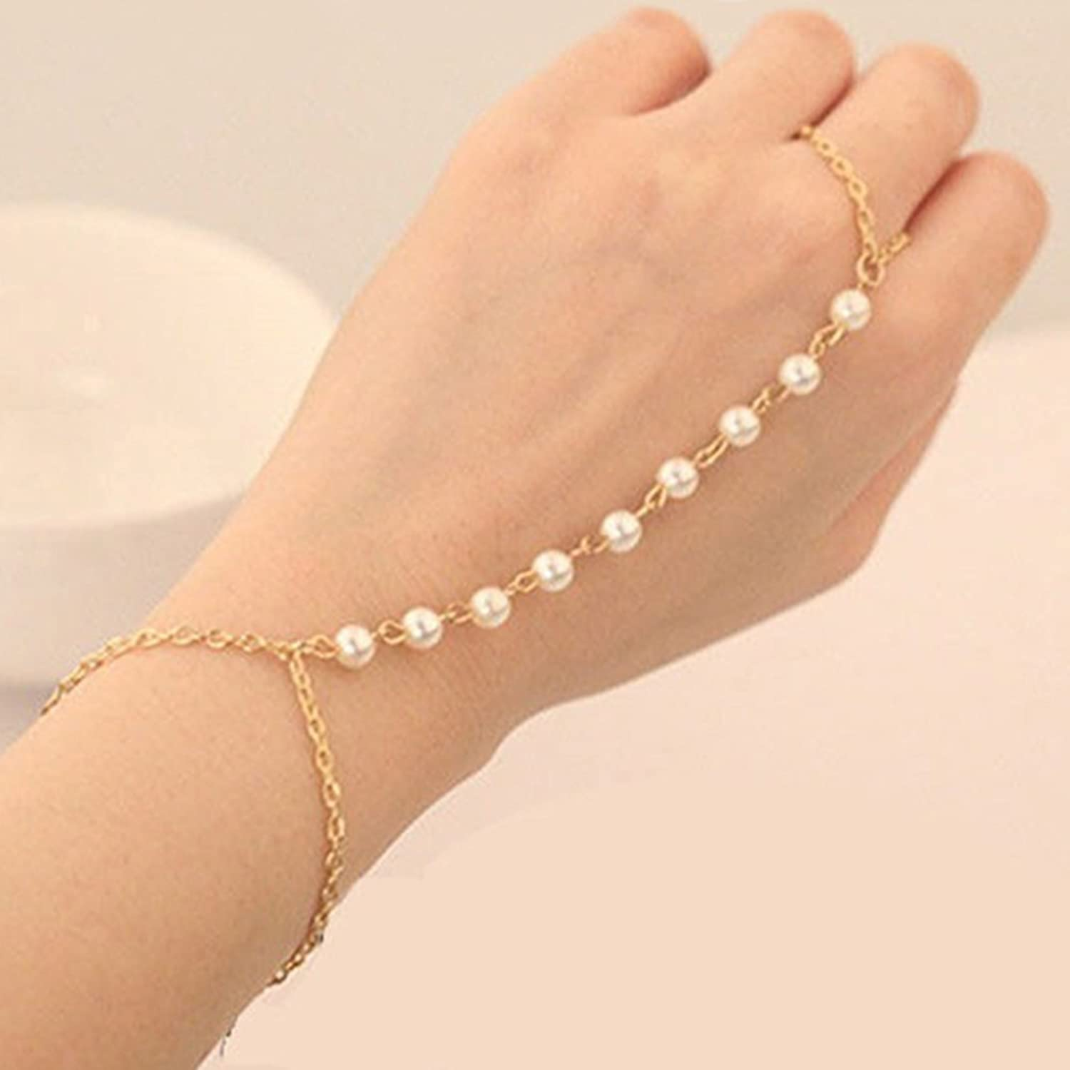 Gold Tone Charming Pearl Bracelet Beads Hand Chain Link Ring Amazon