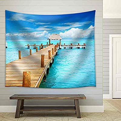 Vacation in Tropic Paradise Jetty on Isla Mujeres, Mexico - Fabric Wall Tapestry Home Decor - 68x80 inches