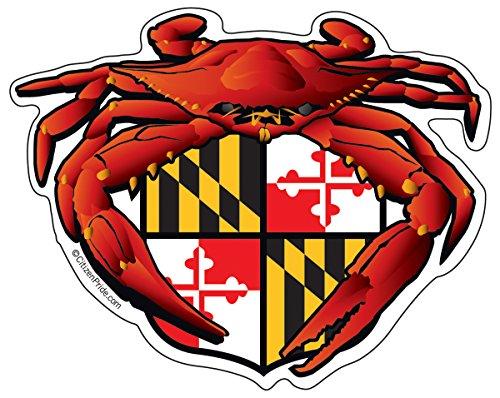 Citizen Pride Red Crab Maryland Crest 5x4 inches sticker decal die cut vinyl - Made in USA ()