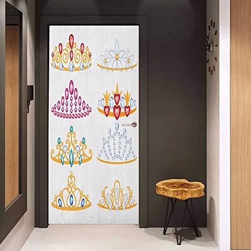 (Toilet Door Sticker Teen Girls Golden Tiaras with Vivid Digital Gemstone Figures Collection Cartoon Print Glass Film for Home Office W35.4 x H78.7 Yellow Red Pink)