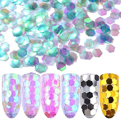 Kamas 6 boxes/set Nail Art Fine Glitter Sequins Mixed Powder Manicure White Hexagon AB Color UV Gel Polish DIY Decor - (Color: sp0203-02)