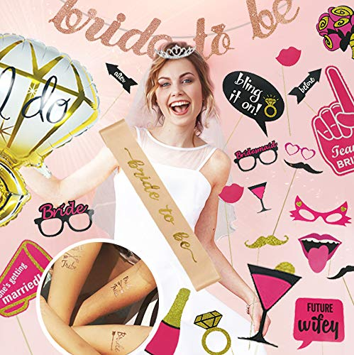 Bride to be decorations - Bachelorette Party Kit - Bridal Shower Supplies - Veil and Tiara Bachelorette Kit - Bride To Be Sash and Banner - Tribe Tattoos - Ring Balloon - Bachelorette Photo Booth - Rose Gold Bachelorette Kit -