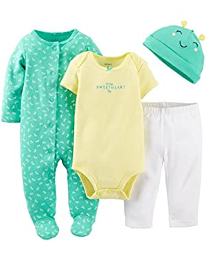 Baby Girls' 4 Piece Layette Set (Baby) - Dragonfly Print