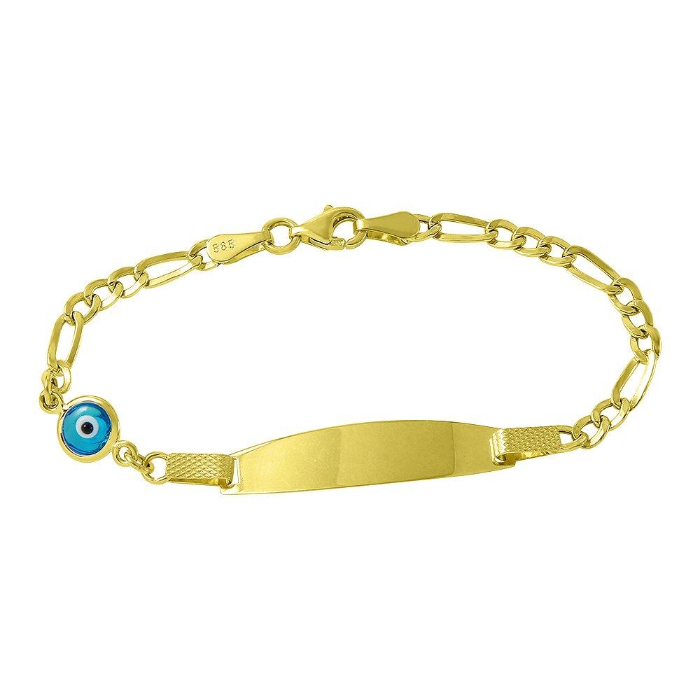 Polished 14k Gold Baby Bracelet with Evil Eye
