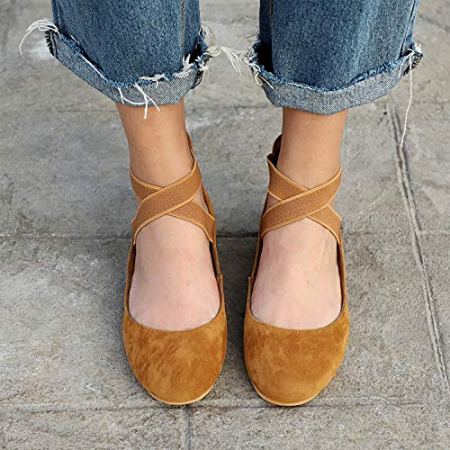 Work Women's Size UK Ballerina Closed Ballet Brown HAINE 2 Office Pumps Leather Flats 8 Toe Shoes xPFwHnHdqz
