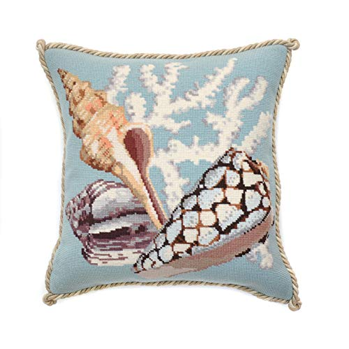 (Staghorn Needlepoint Tapestry Kit with Duck Egg Blue background from Elizabeth Bradley premium English needlework pillow or rug project with 100% wool yarns. The Shells Collection.)